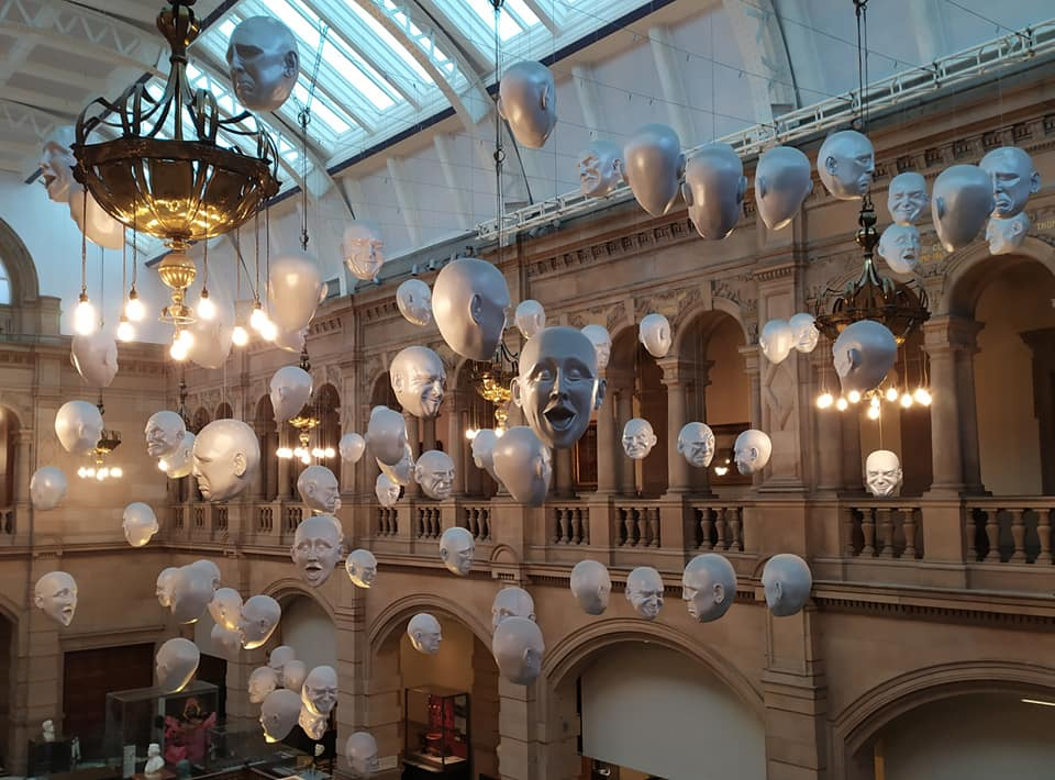 Hanging heads at Kelvingrove Art Gallery & Museum